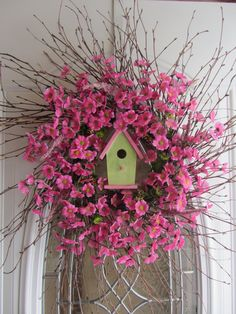 Spring Wreath  Birdhouse Wreath  Summer by DoorWreathsByDesign, $64.95
