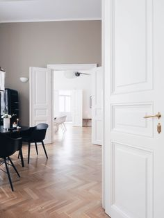 Farrow ball, light oak floors, light grey walls, white walls, light paint c Light Grey, Grey Walls, Floor Lights, Living Room Wood, Grey Wood, Ball Lights, House, Entryway Decor, Farrow Ball