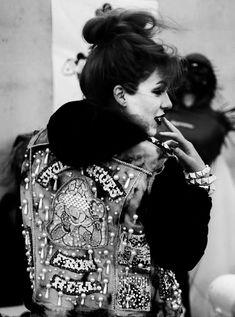 fashion, girl, grunge, punk, denim vest