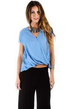 $16 at www.heavenlycouture.com Naked Zebra Sleeveless Wrapped Blouse in Blue : Tops