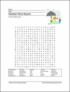 Weather Printables - Weather Wordsearch. Print the Weather Word Search and find the Weather related words.