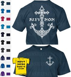 Vintage Fancy Navy Mom Anchor Shirt with Art on Front and Back! Shirts & Hoodies by NavyMomShirts.com - { available for Navy Wife and Nana too}