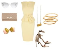 Outfit Ideas - What to Wear with a tan or beige peplum dress. Paired with dainty gold jewelry.