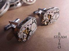 Mens Russian Steampunk Cufflinks Steampunk Quality Soldered Cufflinks Vintage Russian Pinstripe Jeweled Watch Cuff Links Wedding Gift Groom