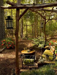 More than 48 beautiful DIY backyard gazebo design and decorating ideas, # patio ., More than 48 beautiful DIY backyard gazebo design and decorating ideas, Whilst historic in thought, your pergola may be experiencing a modern. Backyard Playhouse, Backyard Patio, Backyard Landscaping, Landscaping Ideas, Wooded Backyard Landscape, Patio Ideas, Garden Ideas, Backyard Projects, Rustic Backyard