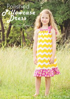 How to make a pillowcase dress - with different options and a free printable pattern.