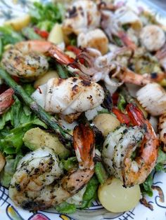 Grilled Seafood Salad with Avocado & Asparagus by srumpdillyicious #Salad #Seafood #Healthy