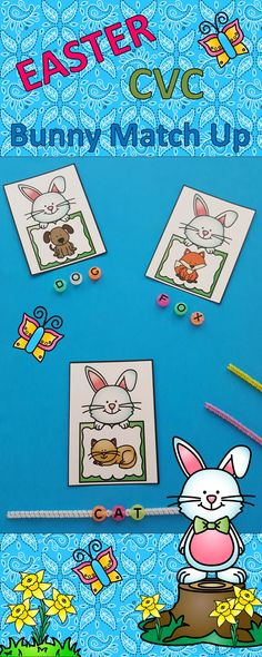 Easter Phonics Fun for Your Little Learners! Thread Letter Beads on Chenille Stems to Make CVC Words!  Great for Morning Tubs, Early Finishers, Literacy Centers, and Informal Assessment $   #CVCwords #Easter #spring #phonics #LiteracyCenters #morningtubs  #EasterBunny #kampkindergarten   https://www.teacherspayteachers.com/Product/Easter-CVC-Bunny-Match-Up-3066434