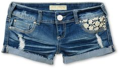 Almost Famous Karlyn Crochet Pocket Blue Denim Shorts from Zumiez. Saved to jeans. Summer Bikinis, Cute Bikinis, Denim And Lace, Blue Denim, Blue Shorts, Denim Shorts, Short Shorts, Jeans, Overalls