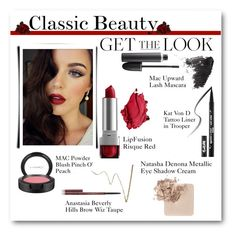 Classic Beauty by lalalaballa22 on Polyvore featuring beauty, Anastasia Beverly Hills, MAC Cosmetics and Topshop