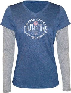 47d5c652470 Touch by Alyssa Milano New York Yankees 2009 World Series Champions Tri  Blend V Neck Long Sleeve Layered Tissue Tee