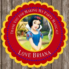 Snow White Birthday Stickers Thank You Stickers  Perfect for Favors, Goody Bags, Lollipops, cups, etc.  These stickers are available in two sizes (custom sizes are also available upon request)  2 in diameter (12 stickers per sheet) 3 in diameter (6 Stickers per sheet)  They are personalized with childs name and age or other custom text. Printed on high quality gloss and waterproof sticker paper  Please leave childs name and age in the Note To Seller section when checking out.  If you would…