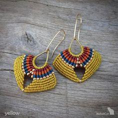 macrame earrings, multicolored earrings, Miyuki seed beads, gold plated earwires - Women's style: Patterns of sustainability Macrame Thread, Macrame Jewelry, Fabric Jewelry, Macrame Bracelets, Macrame Knots, Loom Bracelets, Stretch Bracelets, Chevron Friendship Bracelets, Friendship Bracelets Tutorial
