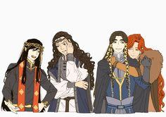 Fëanor, Fingolfin, Fingon, Maedhros