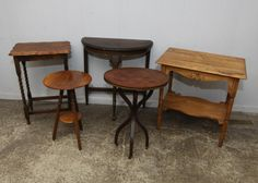 """Five end tables incl one having lower shelf and carved decoration throughout 19.5""""x30""""x28""""T, half moon shaped having light metal decoration 30""""x14""""x30""""T, two plant stands one having lower tier on column legs 16""""Diax23.5""""T, other on metal casters, etc."""
