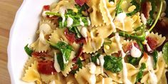 A bowtie pasta salad loaded with ingredients no one can resist.Bacon, Corn, Spinack, and Ranch Pasta Salad