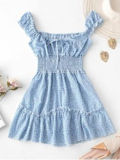 Light Blue Floral Smocked Sleeveless A Line Summer Mini Dress. This super cute summer mini dress in the perfect light blue floral pattern with smocked detailing. Beautiful Summer Dresses, Blue Summer Dresses, Cute Summer Outfits, Summer Dresses For Women, Plus Size Maxi Dresses, Cute Dresses, Light Blue, Stripes, Drop
