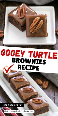 The Best Turtle Brownies - Rich, fudgy brownies topped with the perfect chewy caramel and pecan halves. A decadent homemade brownie recipe! Brownie Toppings, Cookie Brownie Bars, Brownie Recipes, Cookie Recipes, Dessert Recipes, Bar Recipes, Recipes Dinner, Yummy Recipes, Kitchen