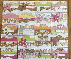 20 cards can be made from 1 Sentiments Border set,  Mini Accent set, and a few embellishments.
