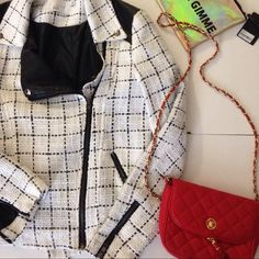 Lush brand tweed moto jacket Tweed moto jacket with faux leather trim, size small so I would say a 4-6 would fit comfortably. Great condition shows some pilling Lush Jackets & Coats