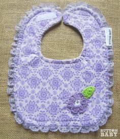 Lavender Lace Baby Bib by Button Baby