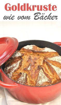Leckere Brote wie diese Goldkruste aus der Cocotte lassen sich ganz einfach selber machen. Aus dem Thermomix, vegan möglich, kann man auch im Römertopf, Zaubermeister, Ultra oder ähnlichem backen.