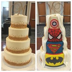 Gold confetti and superhero wedding cake www.KellysCakery.com