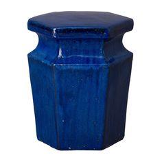 Hexagonal Garden Stool with Glossy Glaze - Blue Ceramic Stool, Ceramic Garden Stools, Steel Canopy, Low Stool, Blue Square, Hexagon Shape, Wood Species, Studio, Indoor Outdoor