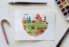 Illustration village flottant  aquarelle  faite main par Frenchead