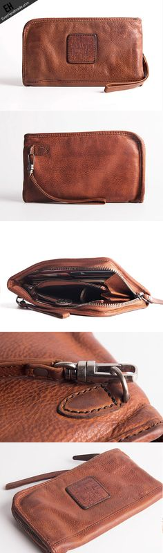 15380269f62 Cool Vintage mens leather long wallet vintage bifold wristlet long wallet  for men