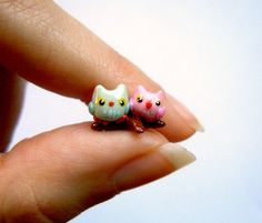 Tiny #miniature  owl couple in love by MijbilCreatures on Etsy
