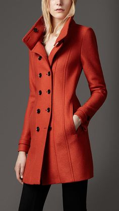 Burberry London Wool A-Line Coat
