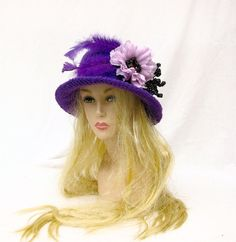 Deep purple crochet cloche hat couture hat millinery wide by Iryna, $48.00