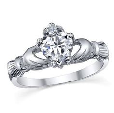 Nice Claddagh featuring a 5 ct Crowned Heart Topaz Simulated Diamond in a 10kt White Gold Filled Ring by Victoria Wieck