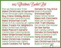 Christmas Bucket List Ideas with Printable