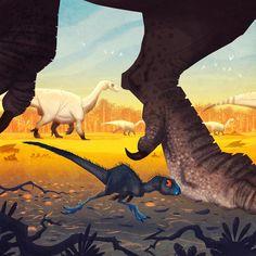 Johan Egerkrans | Heterodontosaurus being dwarfed by a gang of Melanorosaurs