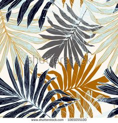 Hand drawn abstract tropical summer background : palm tree leaves in silhouette, line art. Vector art illustration in golden retro colors tropical Art And Illustration, Illustrations, Palm Tree Leaves, Tropical Leaves, Palm Trees, Wallpaper Roll, Peel And Stick Wallpaper, Pattern Wallpaper, Line Art