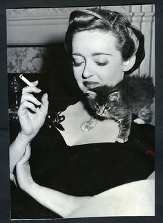 Bette Davis and kitten...