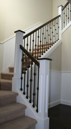 Iron Stair Case With Wood Detail Iron Staircase Custom Stairs Painted Stair Railings, Wrought Iron Stair Railing, Stair Railing Design, Stair Handrail, Staircase Railings, Modern Staircase, Bannister, Railing Ideas, Stairways
