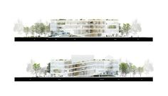 Competition Entry: OYO's Kortrijk Campus Scheme Awarded Second Prize,Elevations. Image © OYO – Open Y Office