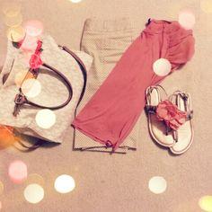 Skirt- peach shirt-BCBG-shoes-Michael kors-purse