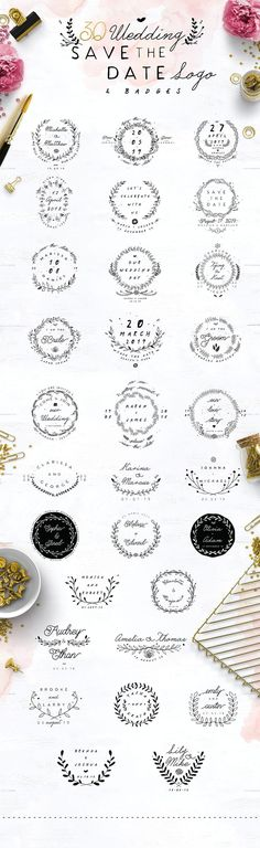 30 Save the Date Wreath Logo by KlapauciusCo on @creativemarket Creative logo design inspiration, perfect for a modern business branding with perfect font and typography selection. Take some ideas or use this feminine, elegant, nature, floral and also hipster set.