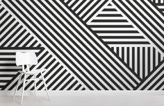 Create a show stopping space with the Divert Striped Geometric Wall Mural. This bold design using geometric shapes will transform any room and create something that will have a spectacular impact on all who see it. Geometric Stripe Wallpaper, Geometric Wall Paint, Stripped Wallpaper, Geometric Shapes, Mural Art, Wall Murals, Tape Wall Art, Wall Paint Patterns, Bedroom Wall Designs