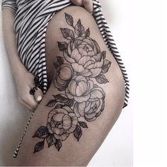 Flowery tattoo by Kristina Darmaeva #KristinaDarmaeva #blackwork #flower