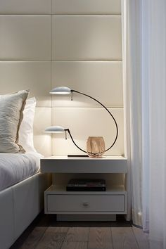 Nightstand Ideas - Get ideas for dressing up bedroom nightstands or building your own. DIY bedside tables unique and creative Decoration Bedroom, Home Decor Bedroom, Luxury Table Lamps, Upholstered Walls, Design Moderne, Luxurious Bedrooms, Beautiful Bedrooms, Unique Nightstands, Nightstand Ideas