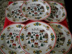 "6 (Six)The Joy of Christmas"" Jamestown China Salad Desert Bread Sandwich Plates 
