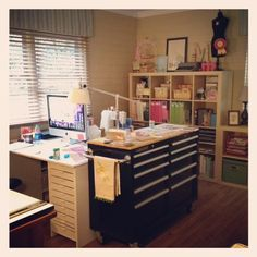 use space in front of window. like the sewing table and desk back-to-back