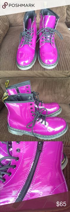 Dark purple Dr Martens women boots Great condition,light creasing from walking in the boots-happens to all of them super comfortable! Shoes Combat & Moto Boots