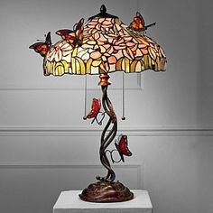 Stained Glass Butterfly Lamp tulip table lamp with butterflies butterfly motif stained glass . Stained Glass Lamp Shades, Stained Glass Light, Tiffany Stained Glass, Stained Glass Windows, Tiffany Glass, Window Glass, Cool Ideas, Butterfly Lamp, Modern Lamp Shades