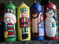 Velones Tallados Ideales Para Recuerdos, Adornos,etc. Diy Crafts For Gifts, Craft Work, Candle Holders, Handmade Candles, Christmas Decor, Tablecloth Decorations, Carved Candles, Picture On Wood, Holiday Ornaments